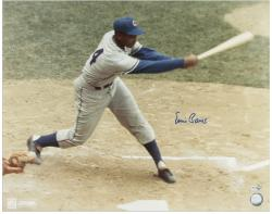 Ernie Banks Chicago Cubs Autographed 16'' x 20'' Swinging MLB Photograph - Mounted Memories
