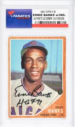 Ernie Banks Chicago Cubs Autographed 1962 Topps #25 Card with HOF 77 Inscription  - Mounted Memories  - Mounted Memories