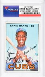 Ernie Banks Chicago Cubs Autographed 1967 Topps #215 Card with HOF 77 Inscription - Mounted Memories  - Mounted Memories