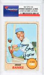 Ernie Banks Chicago Cubs Autographed 1968 Topps #355 Card with HOF 77 Inscription - Mounted Memories  - Mounted Memories