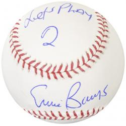 """Ernie Banks Chicago Cubs Autographed Baseball with """"Let's Play 2"""" Inscription"""