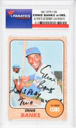 Ernie Banks Chicago Cubs Autographed 1968 Topps #355 Card with Let's Play Two Inscription
