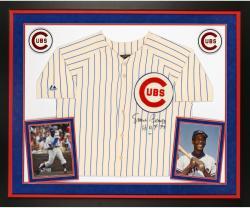 "Ernie Banks Autographed Cubs Jersey - ""HOF 77"" Inscribed, Deluxe Framed"