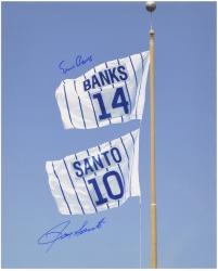 Ernie Banks and Ron Santo Chicago Cubs Autographed 16'' x 20'' Retired Number Flag Photograph - Mounted Memories