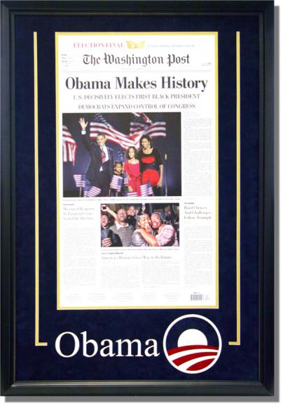Barack Obama Deluxe Framed Washington Post