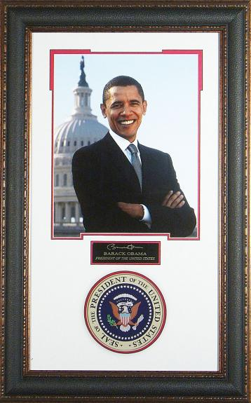 Barack Obama - Laser Engraved Signature Framed Display
