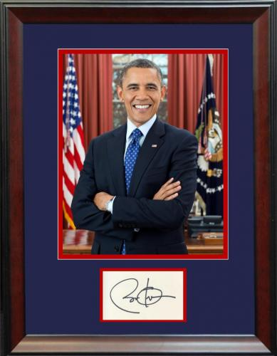 Barack Obama Signed Presidential Framed Display. JSA