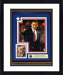 Barack Obama Unsigned 8x10 Photo w/ Upper Deck Baseball Card