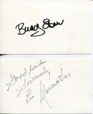 Barnaby Jones Cast Buddy Ebsen Actor & Lee Meriwether Signed Cards Autograph