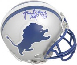 "Lem Barney Detroit Lions Autographed Throwback Riddell Mini Helmet with ""HOF 92"" Inscription"