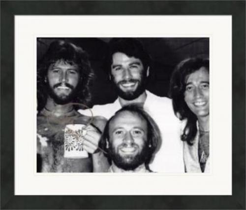 Barry Gibb autographed 8x10 Photo (pictured with John Travolta) #SC2 Matted & Framed