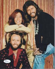 BARRY GIBB HAND SIGNED 8x10 COLOR PHOTO       AWESOME BEE GEES GROUP PHOTO   JSA