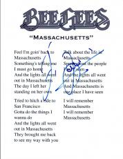 "Barry Gibb Signed Autographed ""Massachusetts"" Bee Gees Music Lyric Sheet COA VD"