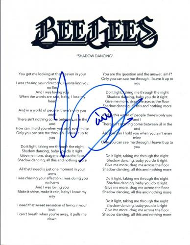 "Barry Gibb Signed Autographed ""Shadow Dancing"" Bee Gees Music Lyric Sheet COA VD"