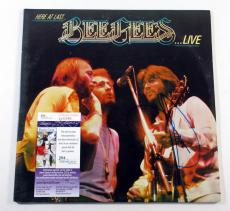 Barry Gibb Signed LP Record Album Bee Gees Here at Last Live JSA AUTO DF019094