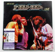 Barry Gibb Signed LP Record Album Bee Gees Here at Last Live JSA AUTO DF019962