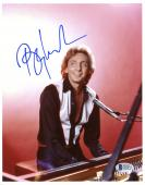 """Barry Manilow Autographed 8""""x 10""""  Playing Piano in Black Shirt Photograph - Beckett COA"""
