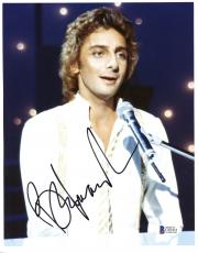 """Barry Manilow Autographed 8""""x 10""""  Playing Piano in White Shirt Photograph With Black Ink - Beckett COA"""
