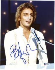 """Barry Manilow Autographed 8""""x 10""""  Playing Piano in White Shirt Photograph With Blue Ink - Beckett COA"""