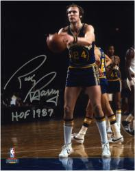 """Rick Barry Golden State Warriors Autographed 8"""" x 10"""" Ball In Hand Photograph with HOF 1987"""