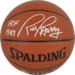 NBA Golden State Warriors Rick Barry Autographed Basketball with HOF '87 Inscription - Mounted Memories