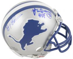 Barry Sanders and Lem Barney Detroit Lions Dual Autographed Riddell Mini Helmet - Mounted Memories