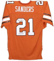 Barry Sanders Oklahoma State Cowboys Autographed Authentic Orange Jersey with Heisman 88 Inscription - Mounted Memories  - Mounted Memories