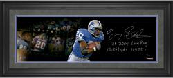 """Barry Sanders Detroit Lions Framed Autographed 10"""" x 30"""" Film Strip Photograph with Multiple Inscriptions-#2-19 of a Limited Edition of 20"""