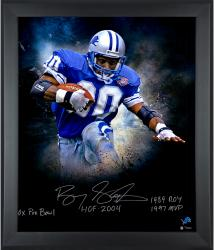 Barry Sanders Detroit Lions Framed Autographed 20'' x 24'' In Focus Photograph with Multiple Inscriptions-#2-19 of a Limited Edition of 20