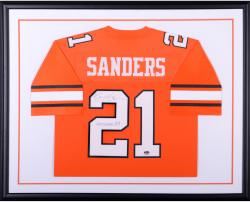 Barry Sanders Oklahoma State Cowboys Autographed Standard Framed Orange Authentic Jersey with Heisman 88 Inscription