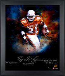 Barry Sanders Oklahoma State Cowboys Framed Autographed 20'' x 24'' In Focus Photograph with Multiple Inscriptions-#1 of a Limited Edition of 20 - Mounted Memories