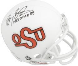 Barry Sanders Oklahoma State Cowboys Autographed Throwback OSU Mini Helmet with Heisman 1988 Inscription - Mounted Memories