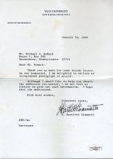 Bart Giamatti Signed Psa/dna 1986 Letter Autograph