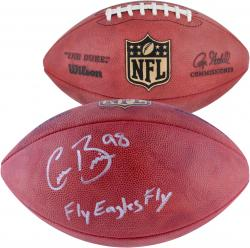 Connor Barwin Philadelphia Eagles Autographed Duke Pro Football with Fly Eagles Fly Inscription - Mounted Memories