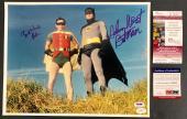 Batman Adam West Burt Ward Signed 11x14 Photo With Character Names Psa/dna Jsa