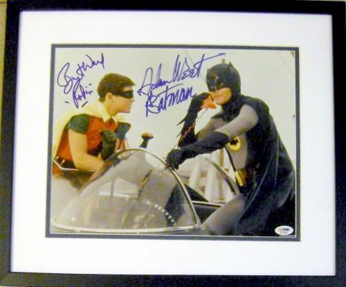 Batman and Robin autographed photo signed by Adam West Burt Ward size 11x14 framed matted PSA DNA Authentication Hologram