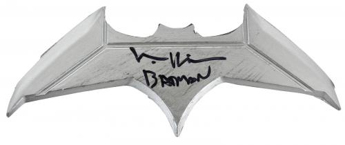 """Batman Forever Val Kilmer """"Batman"""" Signed Batarang BAS Witnessed"""