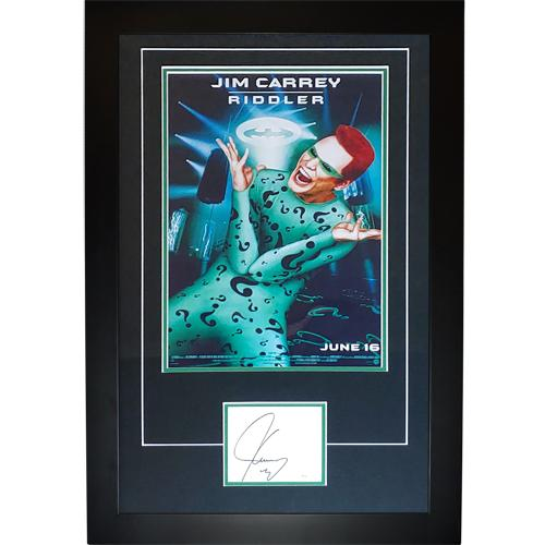 Batman The Riddler 11×17 Movie Poster Deluxe Framed with Jim Carrey Autograph – JSA