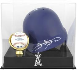 Los Angeles Angels of Anaheim Batting Helmet with Ball Holder Logo Display Case - Mounted Memories
