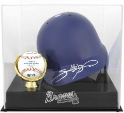 Atlanta Braves Batting Helmet with Ball Holder Logo Display Case - Mounted Memories
