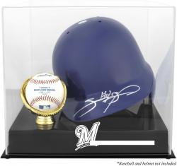 Milwaukee Brewers Batting Helmet with Ball Holder Logo Display Case - Mounted Memories