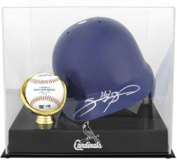 St. Louis Cardinals Batting Helmet with Ball Holder Logo Display Case - Mounted Memories