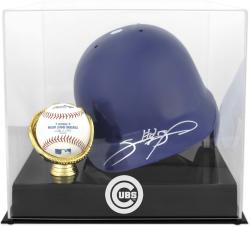 Chicago Cubs Batting Helmet with Ball Holder Logo Display Case - Mounted Memories