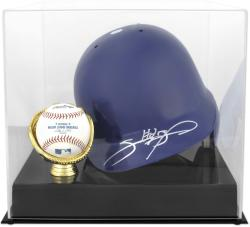 Batting Helmet with Ball Holder Display Case - Mounted Memories