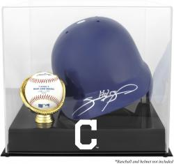 Cleveland Indians Batting Helmet with Ball Holder Logo Display Case - Mounted Memories