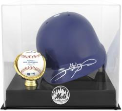 New York Mets Batting Helmet with Ball Holder Logo Display Case - Mounted Memories