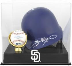 San Diego Padres Batting Helmet with Ball Holder Logo Display Case - Mounted Memories