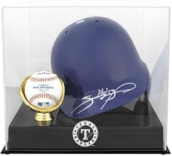 Texas Rangers Batting Helmet with Ball Holder Logo Display Case - Mounted Memories