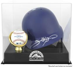 Colorado Rockies Batting Helmet with Ball Holder Logo Display Case - Mounted Memories
