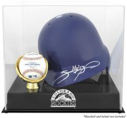 Colorado Rockies Batting Helmet with Ball Holder Logo Display Case